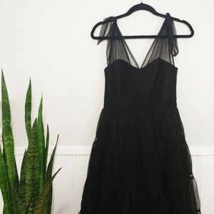 Anthropologie Odille Symphony Dress Black Tulle